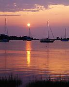 Sunset over Ocracoke Harbor, Outer Banks, Ocracoke Village, North Carolina.