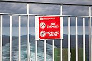 No Smoking No naked Lights sign on Caledonian Mcbrayne ferry Scotland, UK