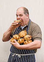 Food festival Producer portraits taken on the street for following years advertising. Robert Didier - Orchard Pigs.(with Tractor Wheel Pork Pies)