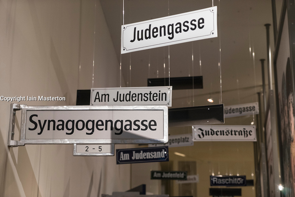 Old street signs with Jewish names on display at the Jewish Museum in Berlin Germany
