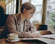 Laura in a Paris cafe
