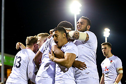 Rusiate Tuima of England U20 celebrates with teammates after scoring a try - Mandatory by-line: Robbie Stephenson/JMP - 22/02/2019 - RUGBY - Zip World Stadium - Colwyn Bay, Wales - Wales U20 v England U20 - Under-20 Six Nations
