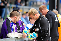 Bristol Rovers' Will Puddy and Steve Mildenhall sign autographs - Photo mandatory by-line: Neil Brookman - Mobile: 07966 386802 23/08/2014 - SPORT - FOOTBALL - Bristol - Memorial Stadium - Bristol Rovers v AFC Telford - Vanarama Football Conference