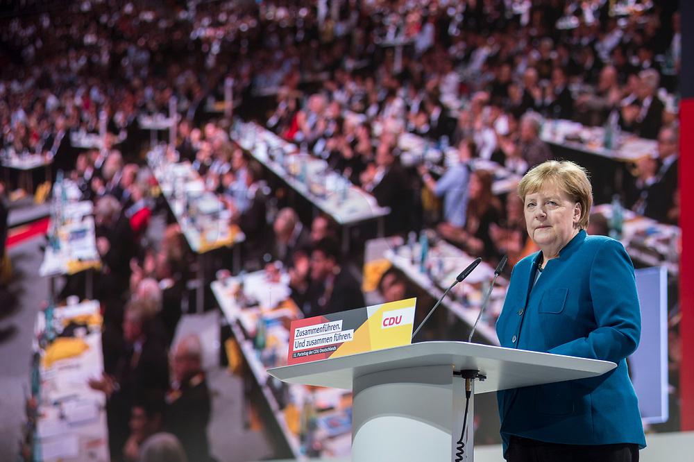 07 DEC 2018, HAMBURG/GERMANY:<br /> Angela Merkel, CDU, Bundeskanzlerin, haelt Ihre letzte Rede als Parteivorsitzende, CDU Bundesparteitag, Messe Hamburg<br /> IMAGE: 20181207-01-026<br /> KEYWORDS: party congress, speech