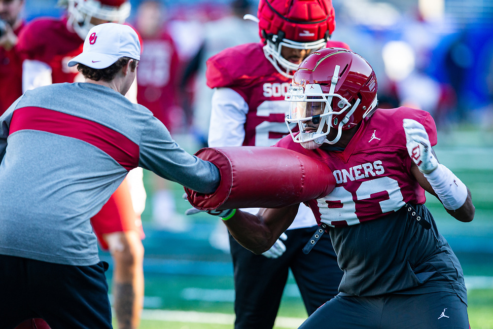 The Oklahoma Sooners practice at the Georgia State Stadium on Dec. 24, 2019, in Atlanta. Oklahoma will face LSU in the 2019 College Football Playoff Semifinal at the Chick-fil-A Peach Bowl. (Jason Parkhurst via Abell Images for the Chick-fil-A Peach Bowl)