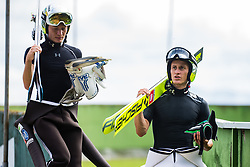 Peter Prevc with Anze Lanisek during practice session of Slovenian national Ski Jumping team on 18 August, 2020, in Kranj, Slovenia.  Photo by Grega Valancic / Sportida