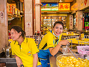 02 NOVEMBER 2012 - HAT YAI, SONGKHLA, THAILAND: Waitresses in a Chinese restaurant in Hat Yai, Songkhla, Thailand. Hat Yai is the commercial center of south Thailand and a popular weekend vacation destination for Malaysian and Singaporean tourists.    PHOTO BY JACK KURTZ
