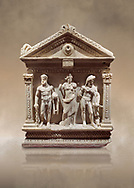End of Roman relief sculpted Herakles (Hercules)  sarcophagus, 2nd century AD, Perge, inv 2017/400. Antalya Archaeology Museum, Turkey. Against a warm art background. ..<br /> <br /> If you prefer to buy from our ALAMY STOCK LIBRARY page at https://www.alamy.com/portfolio/paul-williams-funkystock/greco-roman-sculptures.html . Type -    Antalya    - into LOWER SEARCH WITHIN GALLERY box - Refine search by adding a subject, place, background colour, etc.<br /> <br /> Visit our ROMAN WORLD PHOTO COLLECTIONS for more photos to download or buy as wall art prints https://funkystock.photoshelter.com/gallery-collection/The-Romans-Art-Artefacts-Antiquities-Historic-Sites-Pictures-Images/C0000r2uLJJo9_s0