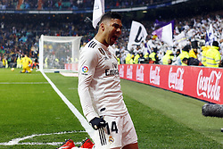 January 19, 2019 - Madrid, Madrid, Spain - Carlos H. Casemiro (Real Madrid) seen celebrating after scoring a goal during the La Liga football match between Real Madrid and Sevilla FC at the Estadio Santiago Bernabéu in Madrid. (Credit Image: © Manu Reino/SOPA Images via ZUMA Wire)