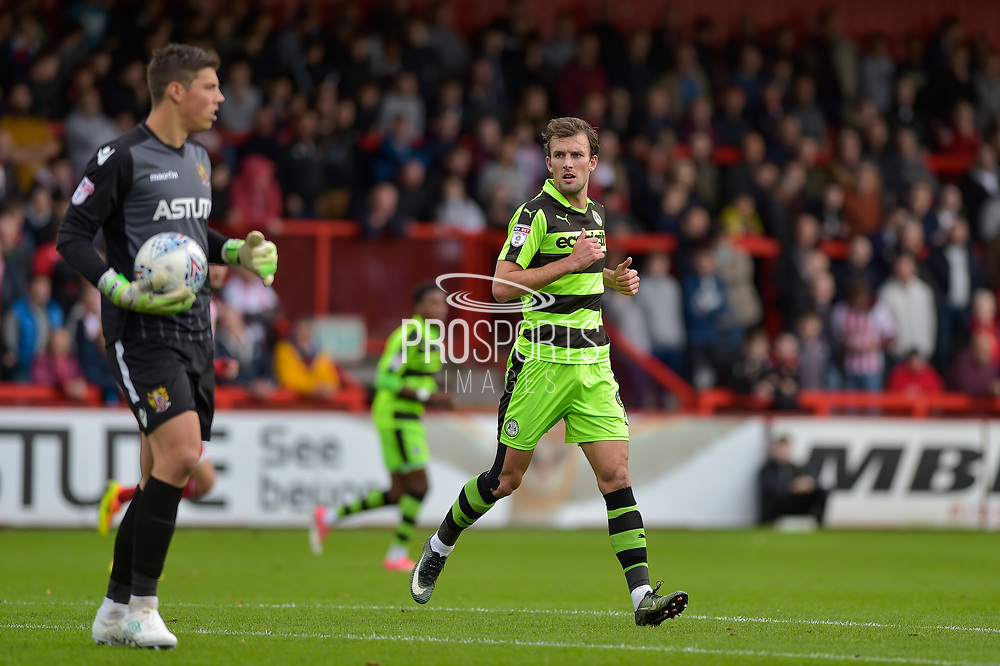 Stevenage Goalkeeper, Joe Fryer(1) and Forest Green Rovers Christian Doidge(9) during the EFL Sky Bet League 2 match between Stevenage and Forest Green Rovers at the Lamex Stadium, Stevenage, England on 21 October 2017. Photo by Adam Rivers.