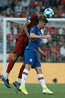 ISTANBUL, TURKEY - AUGUST 14: Joe Gomez (L) of Liverpool and Mason Mount of Chelsea vie for a header during the UEFA Super Cup match between Liverpool and Chelsea at Vodafone Park on August 14, 2019 in Istanbul, Turkey. (Photo by MB Media/Getty Images)