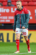 Charlton Athletic midfielder Chris Solly (20) warms up prior to the EFL Sky Bet League 1 match between Charlton Athletic and AFC Wimbledon at The Valley, London, England on 15 December 2018.