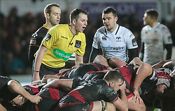 Referee Dan Jones oversees a scrum<br /> <br /> Photographer Simon King/Replay Images<br /> <br /> Guinness Pro14 Round 12 - Dragons v Cardiff Blues - Sunday 31st December 2017 - Rodney Parade - Newport<br /> <br /> World Copyright © 2017 Replay Images. All rights reserved. info@replayimages.co.uk - http://replayimages.co.uk