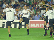Photo Peter Spurrier<br /> 14/09/2002<br /> 2002 Real Betis vs Real Madrid  - Spanish Liga 1<br /> Real Madrid 'warm up' left, Zinedine Yazid Zidane, centre, Iván Helguera
