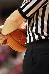 10 February 2013:  Referee Katie Lukanich holds a specially emblazoned Play for Kay basketball during an NCAA women's basketball game where the Creighton Bluejays lost to the Illinois Sate Redbirds 66-60 at Redbird Arena in Normal IL