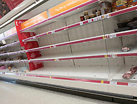 Uk Supermarkets are asking  shoppers to be 'considerate' and stop stockpiling as the   coronavirus death toll rises photos in Sainsburys Bicester