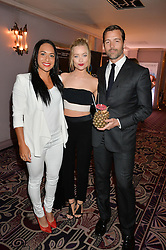 Tennis player HEATHER WATSON, LAURA WHITMORE and PATRICK GRANT at the WGSN Global Fashion Awards 2015 held at The Park Lane Hotel, Piccadilly, London on 14th May 2015.