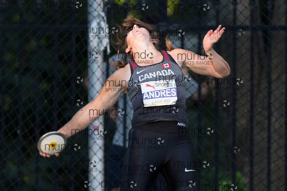 Toronto, ON -- 10 August 2018: Rachel Andres (Canada), discus at the 2018 North America, Central America, and Caribbean Athletics Association (NACAC) Track and Field Championships held at Varsity Stadium, Toronto, Canada. (Photo by Sean Burges / Mundo Sport Images).