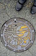 Nice design on manhole cover / hatchcover. Midori-ku, Sagamihara-shi, Kanagawa-ken 252-0181, Japan.