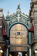 The Pasaje del Ayuntamiento exterior facade, with ornate glass decoration on the Avenue de la Reforma in the historic center of Puebla, Mexico.