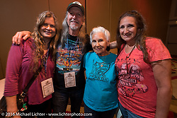 Chris and Pat Simmons with Gloria Struck and her daughter Lori DeSilva at the kickoff banquet before the Motorcycle Cannonball Race of the Century Run. Atlantic City, NJ, USA. September 9, 2016. Photography ©2016 Michael Lichter.