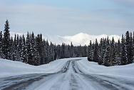 The parks highway runs from just north of Anchorage to the Alaskan Interior.
