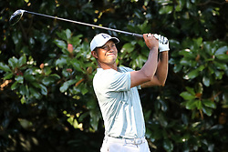 September 21, 2018 - Atlanta, GA, U.S. - ATLANTA, GA - SEPTEMBER 21: Tiger Woods watches his tee shot on the 13th hole during the second round of the PGA Tour Championship on September 21, 2018, at East Lake Golf Club in Atlanta, GA. (Photo by Michael Wade/Icon Sportswire) (Credit Image: © Michael Wade/Icon SMI via ZUMA Press)