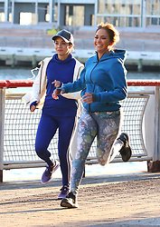 """Jennifer Lopez and Vanessa Hudgens filming """"SECOND ACT"""" with the Brooklyn Bridge as a backdrop for their new movie shooting in Manhattan's South Street SeaPort. 27 Nov 2017 Pictured: Jennifer Lopez and Vanessa Hudgens. Photo credit: LRNYC / MEGA TheMegaAgency.com +1 888 505 6342"""