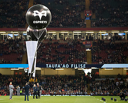 A general view of Principality Stadium balloons with the Ospreys branding<br /> <br /> Photographer Simon King/Replay Images<br /> <br /> Guinness PRO14 Round 21 - Cardiff Blues v Ospreys - Saturday 28th April 2018 - Principality Stadium - Cardiff<br /> <br /> World Copyright © Replay Images . All rights reserved. info@replayimages.co.uk - http://replayimages.co.uk