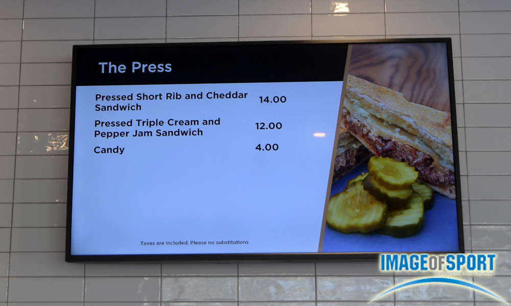 Apr 25, 2018; Los Angeles, CA, USA; The menu at The Press at Banc of California Stadium. The venue is the home of the Los Angeles FC of the MLS and is the first open-air stadium built in the City of Los Angeles since 1962. It is constructed on the site of the former Los Angeles Memorial Sports Arena at Exposition Park next to the Los Angeles Memorial Coliseum.
