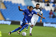 Nathaniel Mendez-Laing of Cardiff city makes a break. . EFL Skybet championship match, Cardiff city v Derby County at the Cardiff city stadium in Cardiff, South Wales on Saturday 30th September 2017.<br /> pic by Andrew Orchard, Andrew Orchard sports photography.