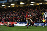 Leigh Halfpenny of Wales scores his 2nd try .RBS Six nations championship 2012, Wales v Scotland at the Millennium Stadium in Cardiff on Sunday 12th Feb 2012.  pic by Andrew Orchard, Andrew Orchard sports photography,