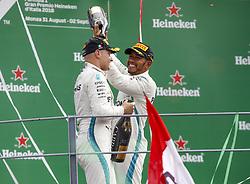 September 2, 2018 - Monza, Italy - Motorsports: FIA Formula One World Championship 2018, Grand Prix of Italy, .#77 Valtteri Bottas (FIN, Mercedes AMG Petronas Motorsport), #44 Lewis Hamilton (GBR, Mercedes AMG Petronas Motorsport) (Credit Image: © Hoch Zwei via ZUMA Wire)