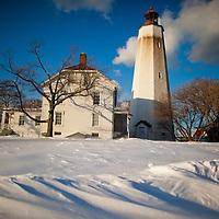 The Sandy Hook Lighthouse after a recent snowfall
