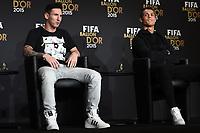 Zurich (Svizzera) 11/01/2016 - Fifa Ballon d'Or 2015 Pallone d'Oro / foto Matteo Gribaudi/Image Sport/Insidefoto<br /> nella foto: Lionel Messi-Cristiano Ronaldo