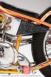 Dave Perewitz's The Sting is a 1964 Sportster Digger Style custom bike. Dave built the bike in 1978 for a local customer and it won the 1979 Harley-Davidson bike show in Daytona, which was the second year of the show.Photographed by Michael Lichter in Sturgis, SD. August 2, 2019. ©2019 Michael Lichter