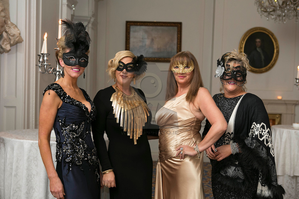 01 November 2013 Teresa Crowley, Aisling O'Toole, Rita Keogh and Adrianne Pelet pictured at the Irish Cancer Society Masquerade Ball in the Shelbourne Hotel. For more information or to support the Irish Cancer Society please visit www.cancer.ie . Picture Andres Poveda