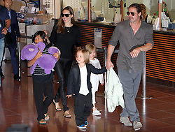 July 28, 2013 - Tokyo, Japan - Actor BRAD PITT and actress ANGELINA JOLIE arrive at Tokyo International Airport with their children on July 28, 2013 in Tokyo, Japan. (Credit Image: © Junko Kimura/Jana Press/ZUMAPRESS.com)