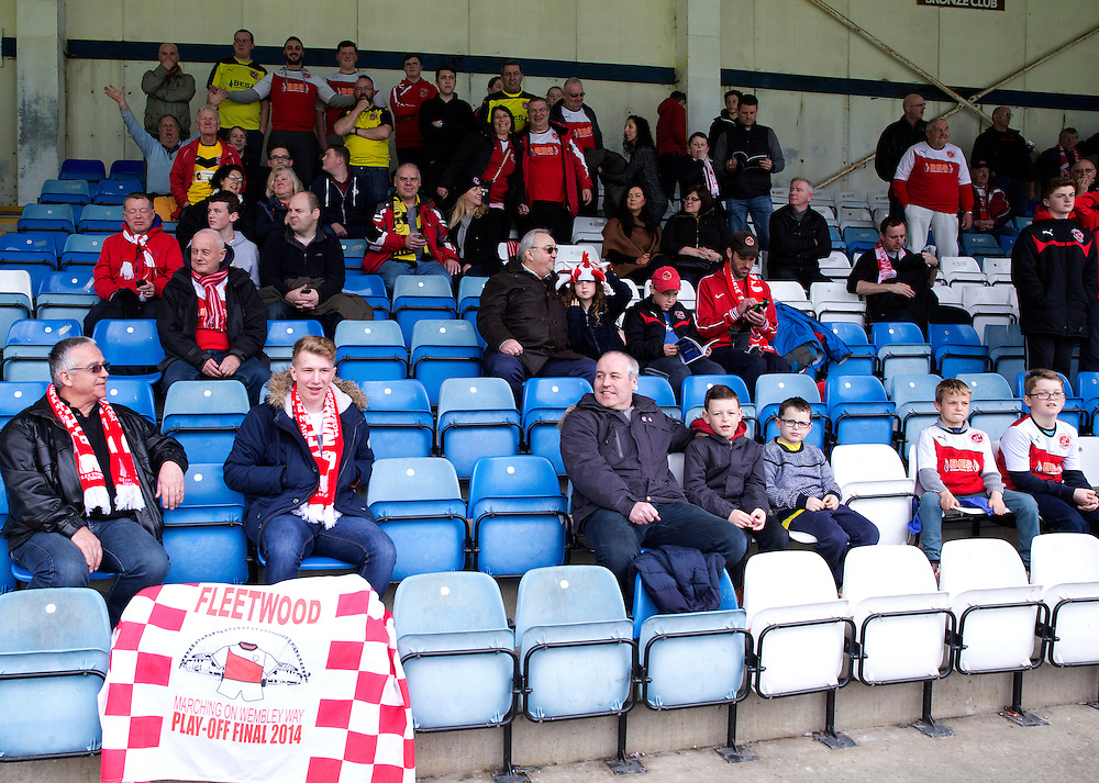 Fleetwood Town fans wait for the kick off<br /> <br /> Photographer Stephen White/CameraSport<br /> <br /> Football - The Football League Sky Bet League One - Gillingham v Fleetwood Town -  Friday 3rd April 2015 - MEMS Priestfield Stadium - Gillingham<br /> <br /> © CameraSport - 43 Linden Ave. Countesthorpe. Leicester. England. LE8 5PG - Tel: +44 (0) 116 277 4147 - admin@camerasport.com - www.camerasport.com