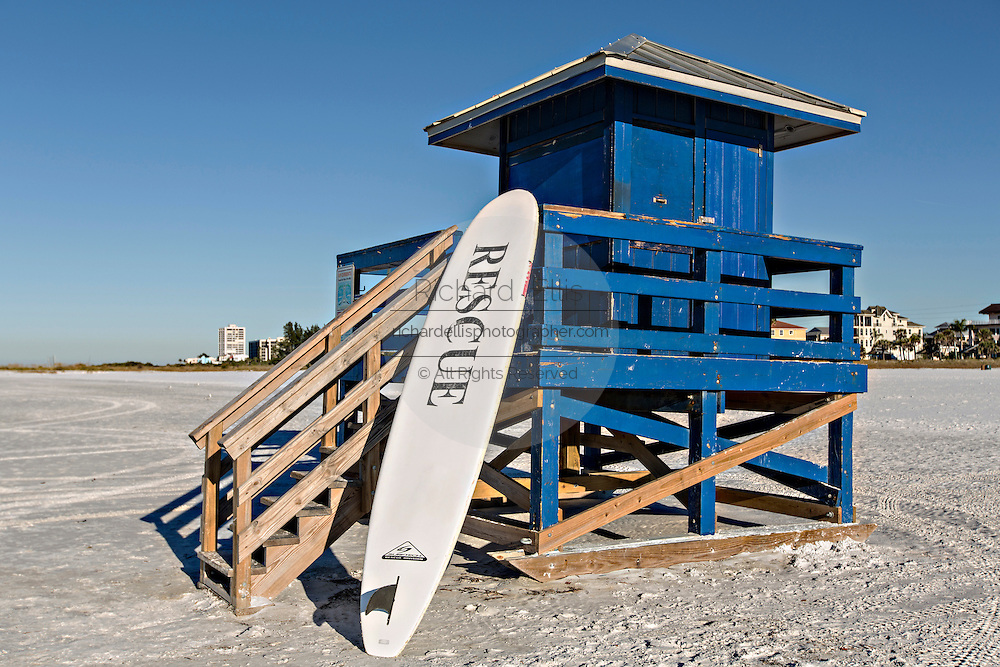 Lifeguard station and paddle board on Siesta Key beach Sarasota, Florida