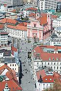 View of Ljubljana's Prešernov trg from the Castle. Ljubljana, Slovenia © Rudolf Abraham