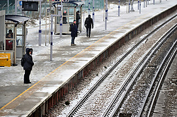 © Licensed to London News Pictures.01/03/2018<br /> Pettswood, UK.<br /> Commuters make a brave effort to get to work in London from Pettswood Train Station in Kent as Storm Emma brings more snow and winds this morning.<br /> Photo credit: Grant Falvey/LNP