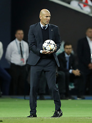 coach Zinedine Zidane of Real Madrid during the UEFA Champions League final between Real Madrid and Liverpool on May 26, 2018 at NSC Olimpiyskiy Stadium in Kyiv, Ukraine