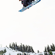 US Snowboarding Team member Shaun White takes a training run in the half pipe prior to the start of finals at the 2009 LG Snowboard FIS World Cup at Cypress Mountain, British Columbia, on February 16th, 2009.