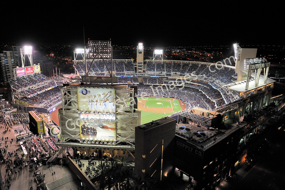 An early season night game, featuring the San Diego Padres versus the Los Angeles Dodgers.<br /> <br /> Home of the San Diego Padres Petco Park was built in downtown San Diego.