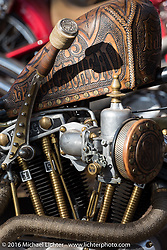 Tooled leather wrapped custom HD Sportster in the Harley-Davidson Editors Choice bike show at the Broken Spoke Saloon. Daytona Bike Week 75th Anniversary event. FL, USA. Wednesday March 9, 2016.  Photography ©2016 Michael Lichter.