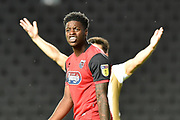 Grimsby Town striker JJ Hooper (9) shouts at a team mate during the EFL Sky Bet League 2 match between Milton Keynes Dons and Grimsby Town FC at stadium:mk, Milton Keynes, England on 21 August 2018.