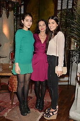 Left to right, MADDIE MILLS, YASMIN MILLS and LAUREN MILLS at the launch of Sunday Brunch at Momo's, 25 Heddon Street, London on 23rd February 2014.