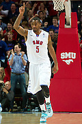 DALLAS, TX - FEBRUARY 01: Markus Kennedy #5 of the SMU Mustangs celebrates after a dunk against the Memphis Tigers on February 1, 2014 at Moody Coliseum in Dallas, Texas.  (Photo by Cooper Neill/Getty Images) *** Local Caption *** Markus Kennedy