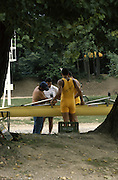 Milan ITALY,  General View crews rigging their boat. 1997 Nations Cup U23  World Rowing Championships. Course, Idra Scala. Province of Milan.<br /> <br /> [Mandatory Credit; Peter Spurrier/Intersport-images] 1997 U23 Nations Cup U23 Championships. Milan Italy